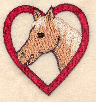 Embroidery Design: Palimino head in heart 2.96w X 3.14h