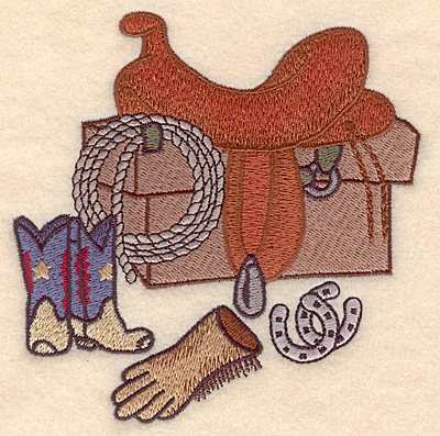 Embroidery Design: Western scene with saddle  4.86w X 4.95h