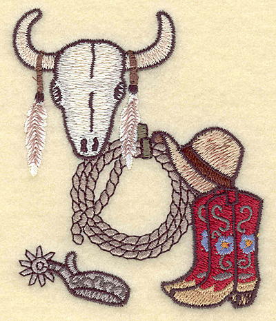 Embroidery Design: Western scene with longhorn skull 3.19w X 3.87h