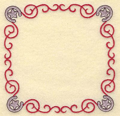 Embroidery Design: Horseshoe and swirls frame 4.96w X 4.96h