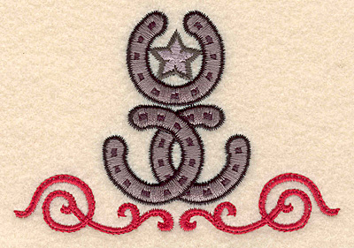 Embroidery Design: Horseshoes star and swirls 3.89w X 2.66h