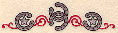 Embroidery Design: Horseshoes stars and swirls border 6.90w X 1.78h
