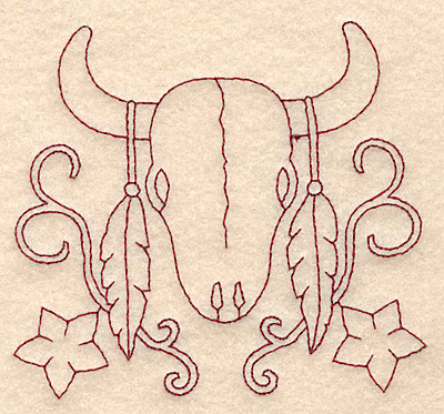 Embroidery Design: Redwork longhorn skull and feathers 3.83w X 3.44h