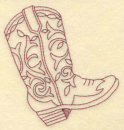 Embroidery Design: Redwork cowboy boot 3.50w X 3.79h