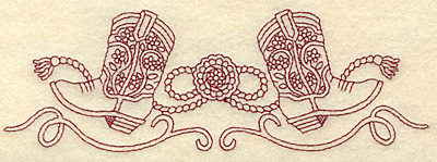 Embroidery Design: Redwork cowboy boots rope buckle and swirls 6.99w X 2.34h
