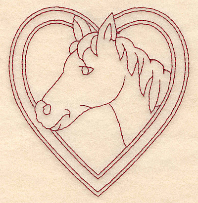 Embroidery Design: Redwork horse head in heart 3.64w X 3.89h