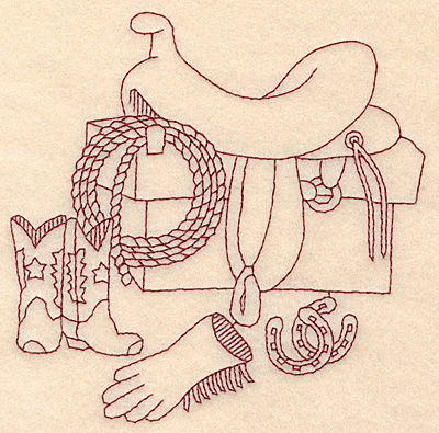 Embroidery Design: Redwork western scene with saddle 4.80w X 4.83h