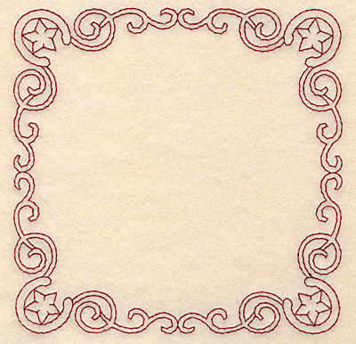 Embroidery Design: Redwork border swirls and horseshoes 4.95w X 4.95h
