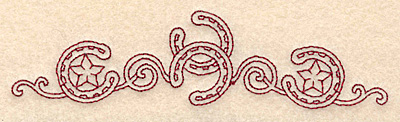 Embroidery Design: Redwork horseshoes stars and swirls  4.97w X 1.24h