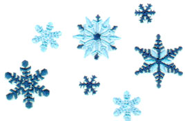 "Embroidery Design: Seven Snowflakes3.60"" x 2.40"""