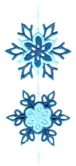 """Embroidery Design: Two Vertical Snowflakes1.93"""" x 4.59"""""""