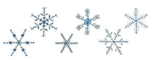 "Embroidery Design: Six Staggered Snowflakes7.40"" x 2.55"""