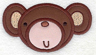 Embroidery Design: Monkey head applique small 3.88w X 2.18h