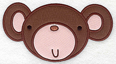 Embroidery Design: Monkey head applique large 6.84w X 3.70h