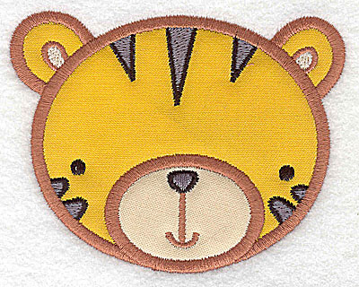 Embroidery Design: Tiger head applique small 3.80w X 2.97h
