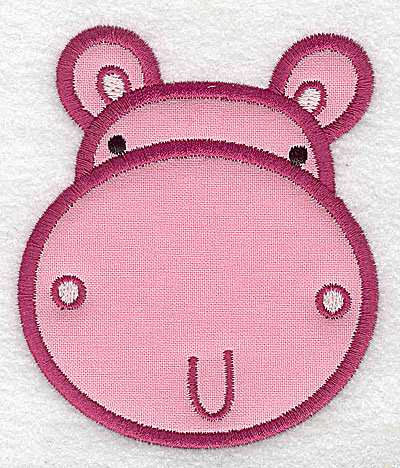 Embroidery Design: Hippo head applique small 3.15w X 3.69h
