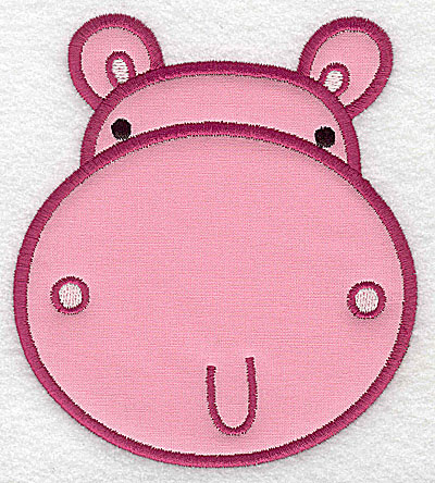 Embroidery Design: Hippo head applique large 4.39w X 4.96h