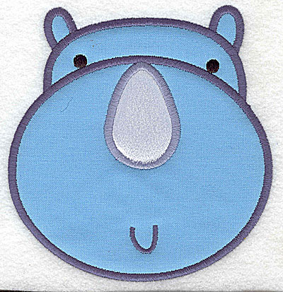 Embroidery Design: Rhino head applique large 4.77w X 4.99h