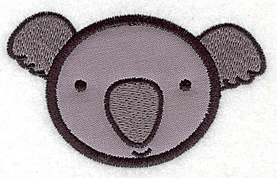 Embroidery Design: Koala bear head applique small 3.60w X 2.25h
