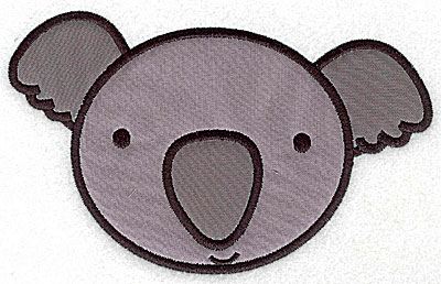 Embroidery Design: Koala bear head applique large 6.53w X 4.09h
