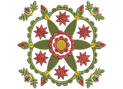 Embroidery Design: Baltimore Quilt Block 8 Lg 7.25w X 7.25h