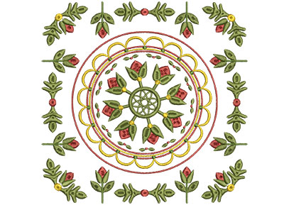 Embroidery Design: Baltimore Quilt Block 11 Lg 7.25w X 7.25h