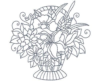 Embroidery Design: Blueworks Basket 1 Sm 3.97w X 3.88h