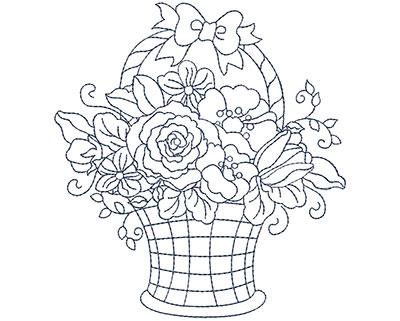 Embroidery Design: Blueworks Basket 2 Lg 4.56w X 4.94h