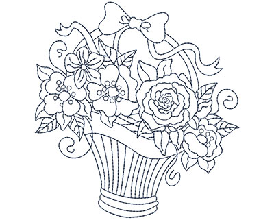 Embroidery Design: Blueworks Basket 5 Lg 4.71w X 4.97h