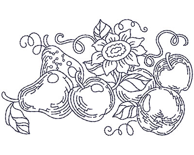Embroidery Design: Apple and Pears Sm 3.94w X 2.41h