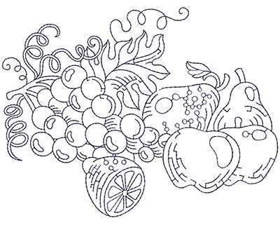 Embroidery Design: Grapes, Apples and Pears Lg 5.90w X 4.48h