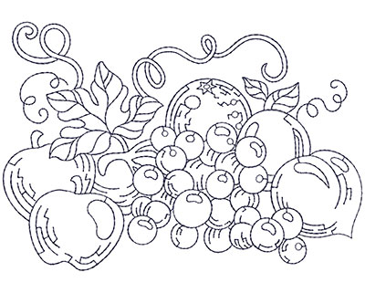 Embroidery Design: Grapes and Apples Lg 5.86w X 4.06h