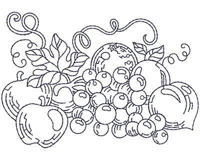Embroidery Design: Grapes and Apples Sm 3.91w X 2.71h