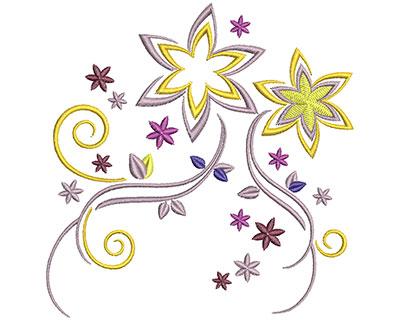 Embroidery Design: Flower Swirls Lg 4.79w X 4.90h