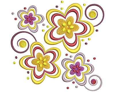 Embroidery Design: Floral Flowers Lg 4.91w X 4.76h