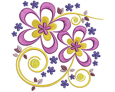 Embroidery Design: Spring Floral Lg 4.91w X 4.85h