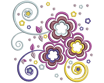 Embroidery Design: Dream Flowers Lg 4.90w X 4.91h