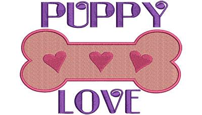 Embroidery Design: Puppy Love A 6.39w X 4.52h