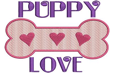 Embroidery Design: Puppy Love B 6.39w X 4.52h