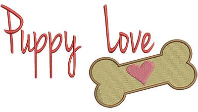 Embroidery Design: Puppy Love With Bone 6.52w X 3.48h