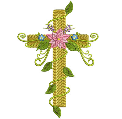 Embroidery Design: Floral Cross 1 4.41w X 6.50h