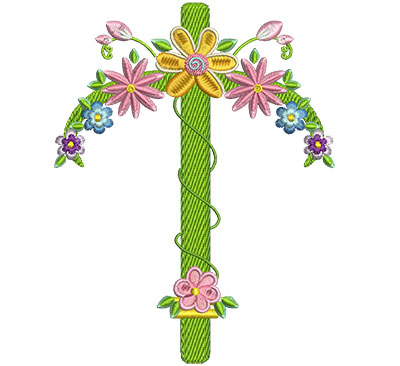 Embroidery Design: Floral Cross 3 4.60w X 6.02h
