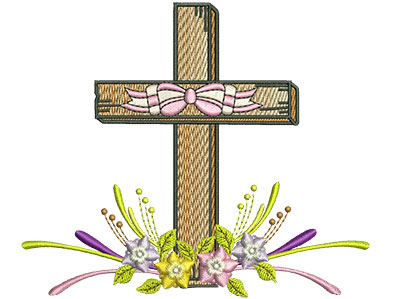 Embroidery Design: Floral Cross 5 5.21w X 4.49h