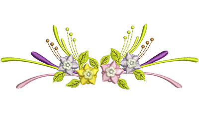 Embroidery Design: Flowers With Swirls 6.50w X 2.18h