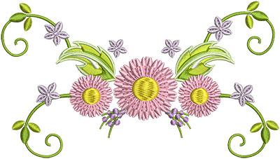 Embroidery Design: Three Flower Swirls 6.27w X 3.59h