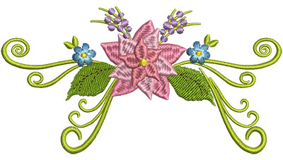 Embroidery Design: Flower Swirl 5.01w X 2.69h