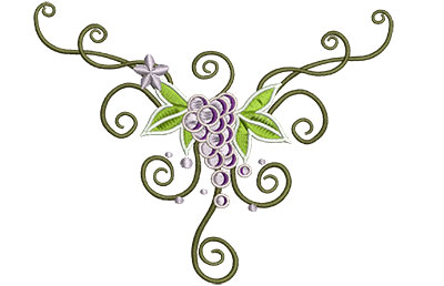 Embroidery Design: Grape Vine Swirls 5.10w X 4.07h