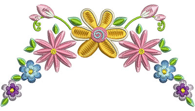 Embroidery Design: Floral Embellishment 4.96w X 2.65h