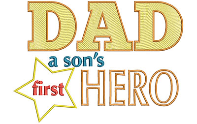 Embroidery Design: Dad A Sons First Hero Lg 9.07w X 6.49h