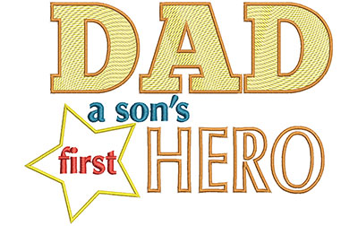 Embroidery Design: Dad A Sons First Hero Sm 6.98w X 5.00h